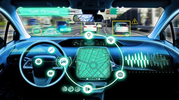 Driverless connected car graphic