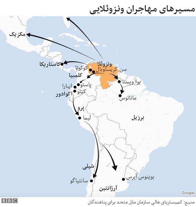 مسیر مهاجران ونزوئلایی