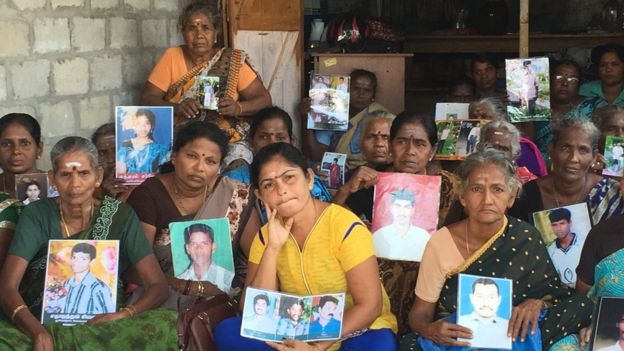 Tamil women protesting in the northern town of Kilinochchi demanding information on their relatives who they say surrendered to the army in 2009