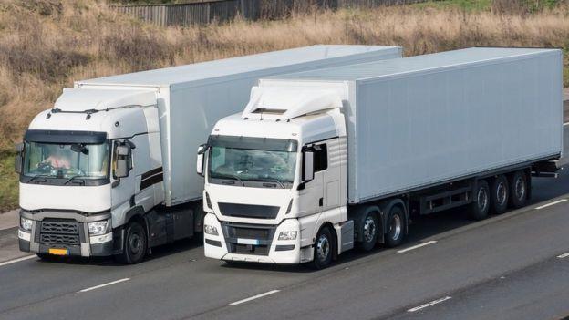 Two HGV lorries on a motorway