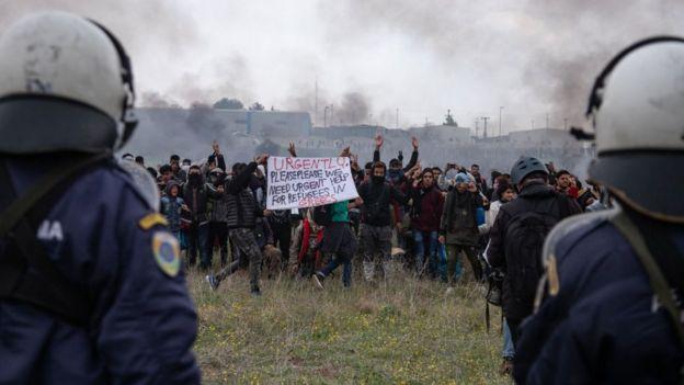 1 Nisan Göçmen krizi protesto Selanik