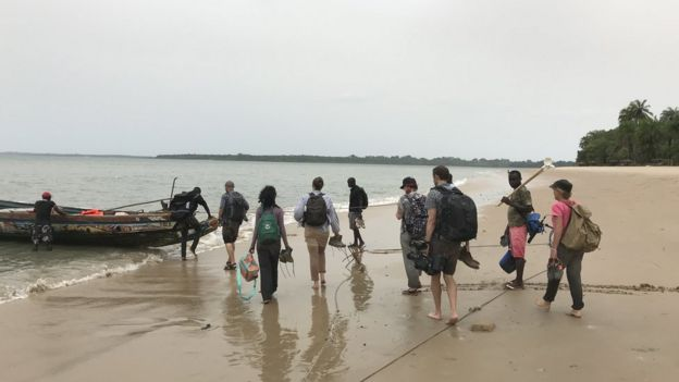 Researchers from LSHTM leaving Rubane island following a mosquito survey