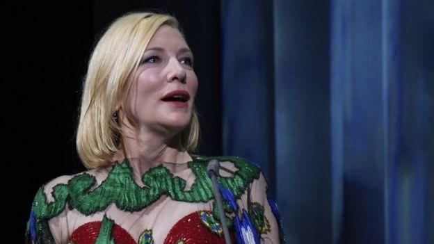 Cate Blanchett speaks at the Venice Film Festival. Photo: 12 September 2020