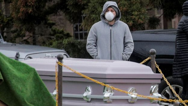 Mourners attend a funeral at The Green-Wood Cemetery, amid the coronavirus disease in Brooklyn, New York