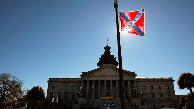 The controversial Confederate flag flies outside of South Carolina's State House