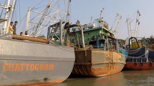 Industrial trawlers docked off the coast of Bangladesh