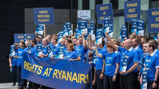 Greve da Ryanair - manifestação
