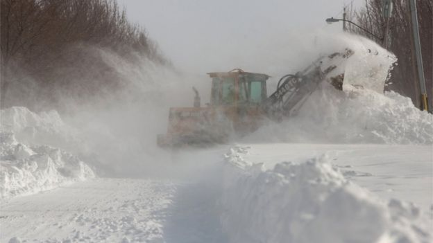 Snow plough in Buffalo, New York