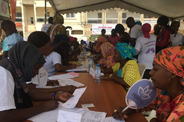 A day of free cancer screening organised by Senegal's anti-cancer league (LISCA) in Dakar