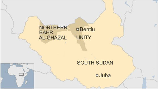 Map of South Sudan showing Unity and Northern Bahr al-Ghazal states