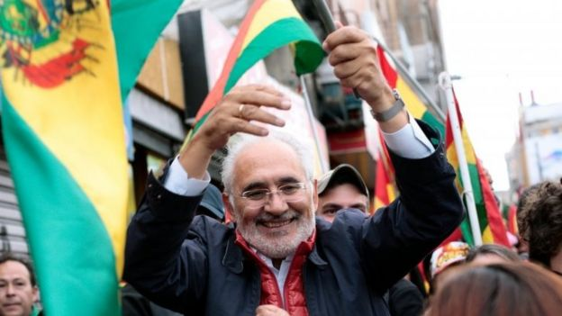 Carlos Mesa reacts after Bolivia's President Evo Morales announced his resignation