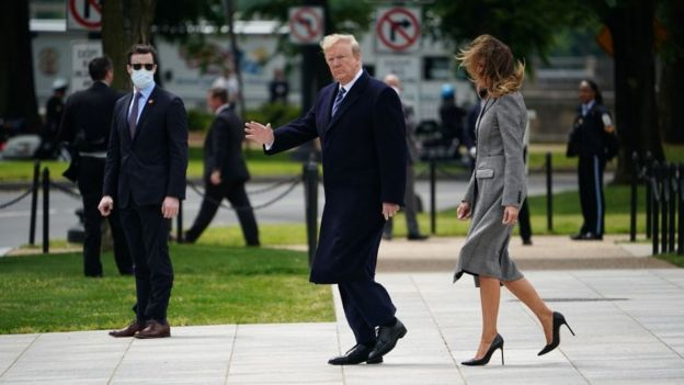 Mr Trump visited the WWII memorial in Washington DC on Friday