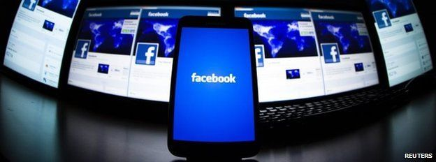 Screens showing the Facebook logo