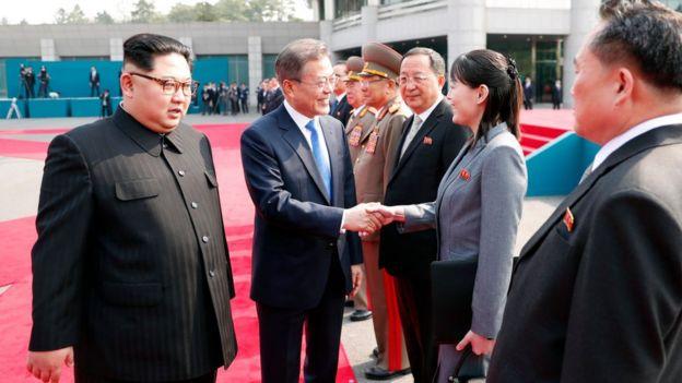 Kim Jong-un, Moon Jae-in, dan Kim Yo-jong