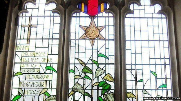 The Burma Star window at St John's Church in Cardiff