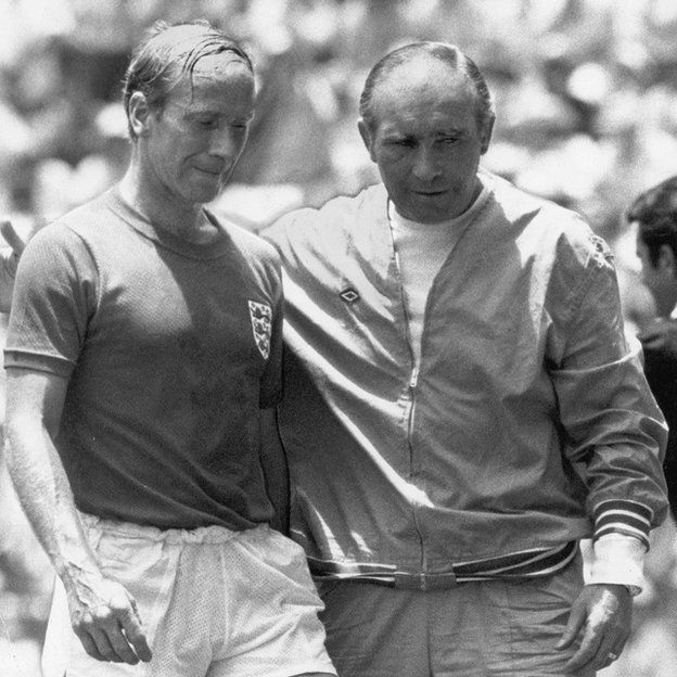 Bobby Charlton and Sir Alf Ramsey after the West Germany defeat