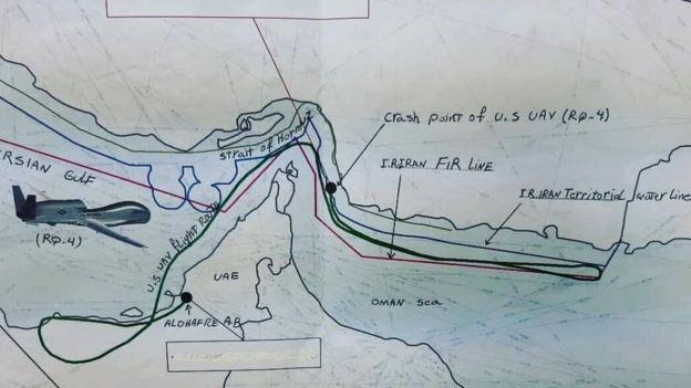 جواد ظریف این نقشه نظامی را از مسبر پرواز و محل هدف قرار دادن پهپاد آمریکایی در توییتر منتشر کرده است