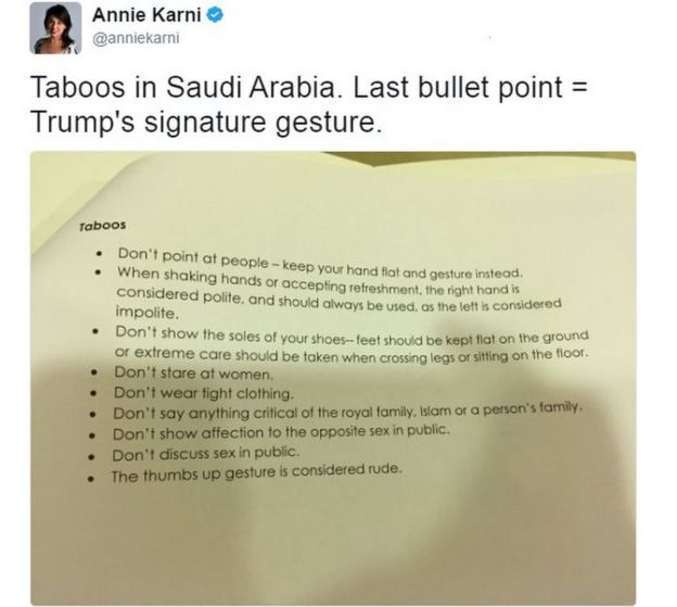 Tweet from Politico reporter Annie Karni shows document distributed by the US embassy in Riyadh which says that a thumbs up sign is considered rude in Saudi Arabia