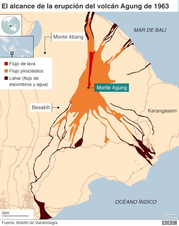 Mapa sobre el alcance de la erupción de 1963