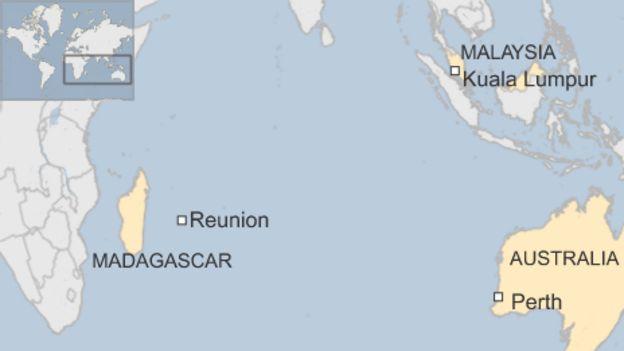 Map showing location of Reunion, Madagascar, Kuala Lumpur, Perth