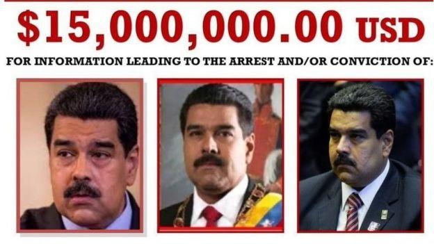 Cartaz dos Estados Unidos mostra fotos de Maduro e valor de US$ 15 milhões.