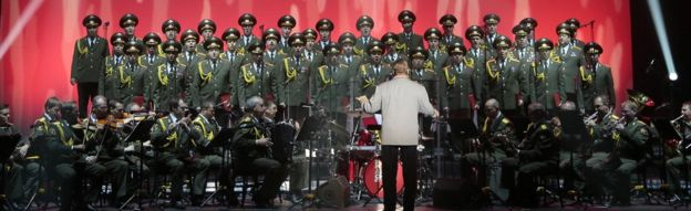 Members of the Alexandrov Ensemble performing in Paris in 2015
