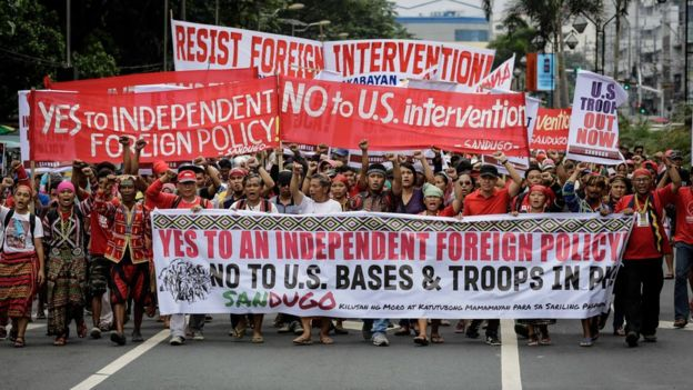 Filipino Protesters March Towards The Us Embassy In Manila Philippines 19 October 2016
