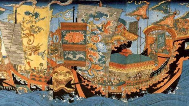 Um tapete mostra a viagem de Xu Fu