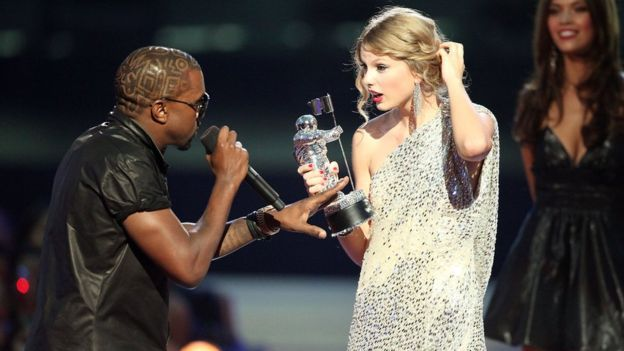 Kanye West interrupting Taylor Swift at the 2009 MTV VMA's
