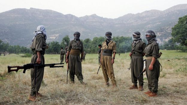 PKK fighters chat during a training exercise in northern Iraq on 20 June 2007