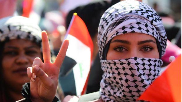 تظاهرات زنان عراقی در میدان تحریر بغداد