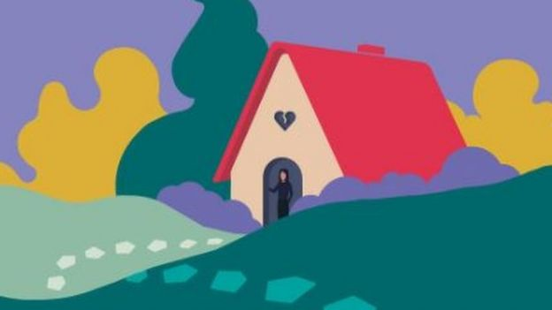 An illustration of a house in the countryside with a woman at the door and a broken heart above it