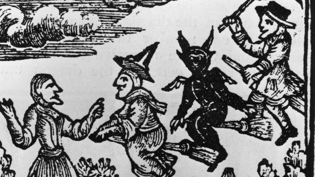 крестьянка, черт на метле, колдун и ведьма