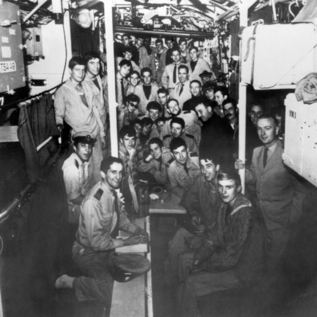 """A file photo taken in the second half of the 1965 shows the crew of the """"Minerve"""" French navy submarine."""