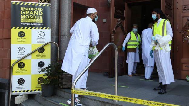 Worshipper walking to a mosque
