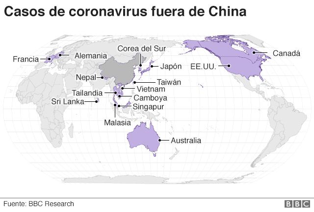 Mapa con los casos confirmados de coronavirus fuera de China