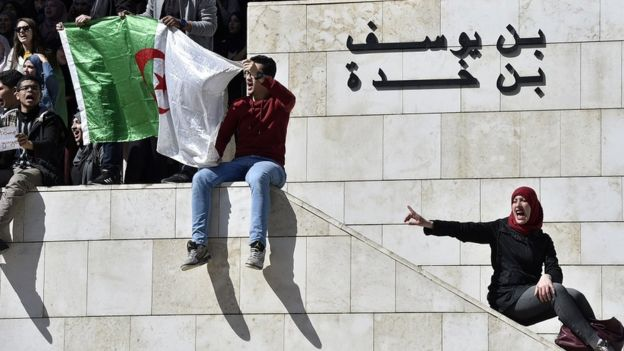 Young Algerians protesting on the streets