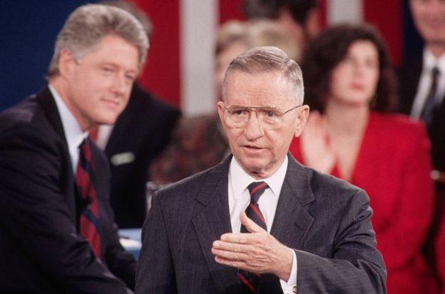 Ứng cử viên Ross Perot trong một cuộc tranh luận tổng thống năm 1992