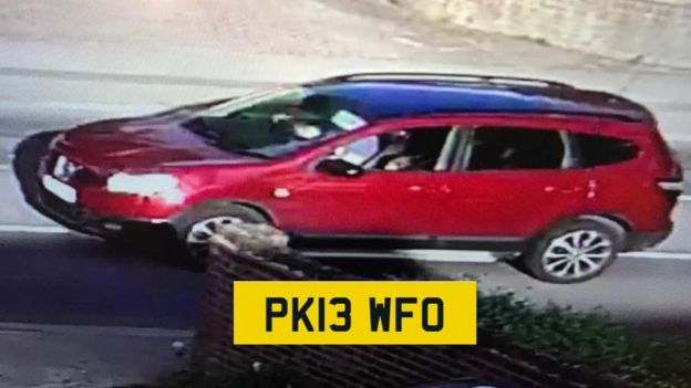 Red Nissan Qashqai, with the registration PK13 WFO, believed to be linked to Imran Safi