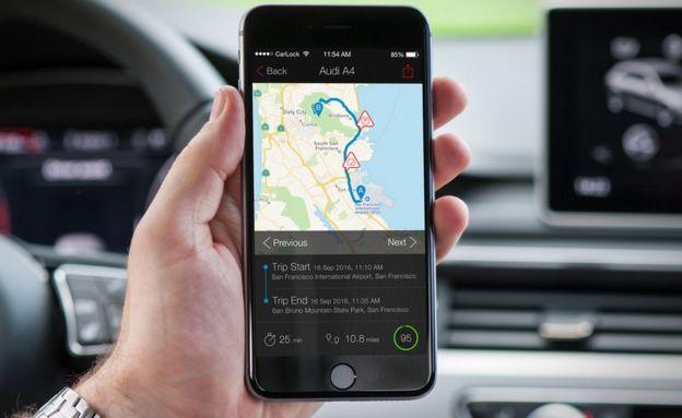 Close up of CarLock app