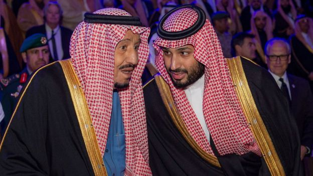 Saudi Arabia's King Salman and his son, Crown Prince Mohammed bin Salman, speak at the opening of the Diriyah Gate touristic project in north-western Riyadh (20 November 2019)