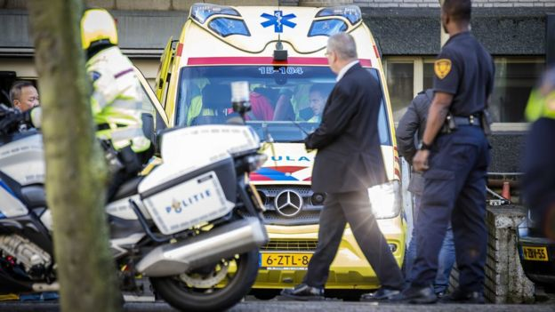 An ambulance outside the Hague tribunal, 29 November
