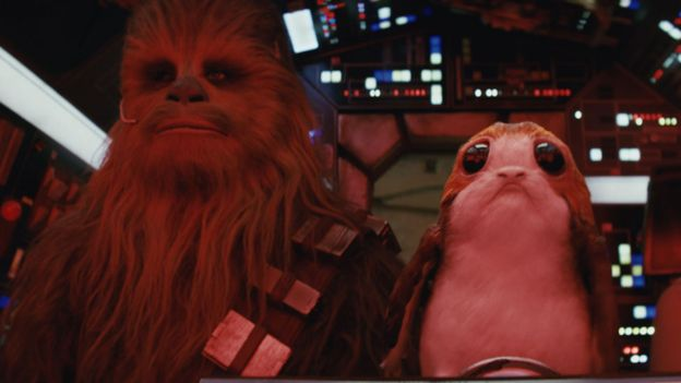 Chewbacca and a 'Porg' in Star Wars: The Last Jedi