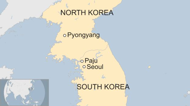 Map showing Paju in South Korea