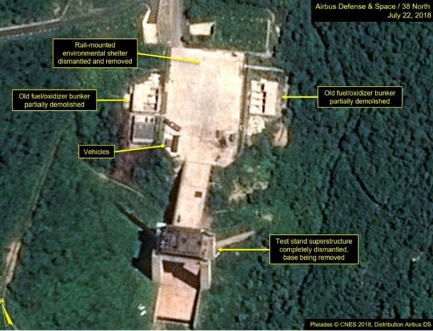 Satellite image courtesy Airbus Defense and Space and 38 North dated July 22, 2018 and obtained July 23, 2018 shows the apparent dismantling of facilities at the Sohae satellite launching station, North Korea.