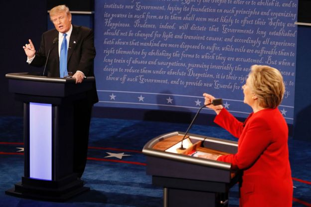 Donald Trump and Hillary Clinton debating on 26 September 2016 - the first presidential debate of the 2016 election