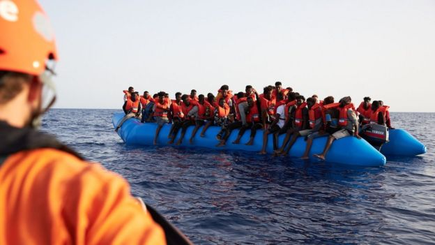 Migrants rescued off the coast of Libya on 5 July 2019