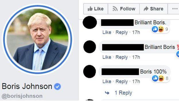 """Brilliant Boris"" and similar messages on a Facebook post"
