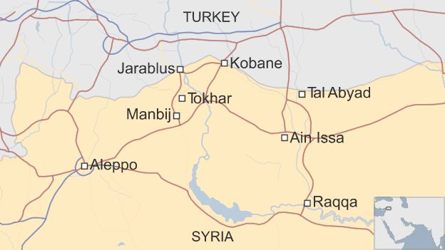 Map of Syria showing location of Manbij and Tokhar