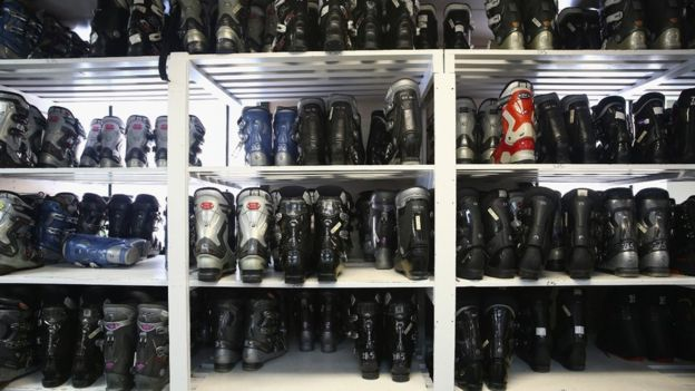 Hire boots at ski resort